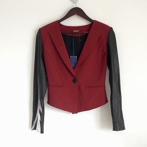 Rebecca Minkoff Leather Wool Combo Blazer Jacket
